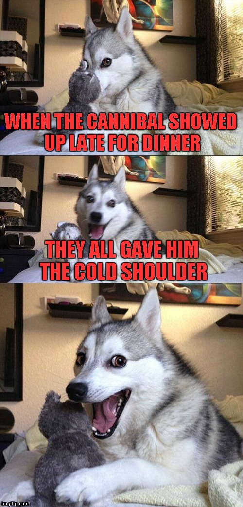 It would not surprise me if this has been done before... |  WHEN THE CANNIBAL SHOWED UP LATE FOR DINNER; THEY ALL GAVE HIM THE COLD SHOULDER | image tagged in memes,bad pun dog | made w/ Imgflip meme maker