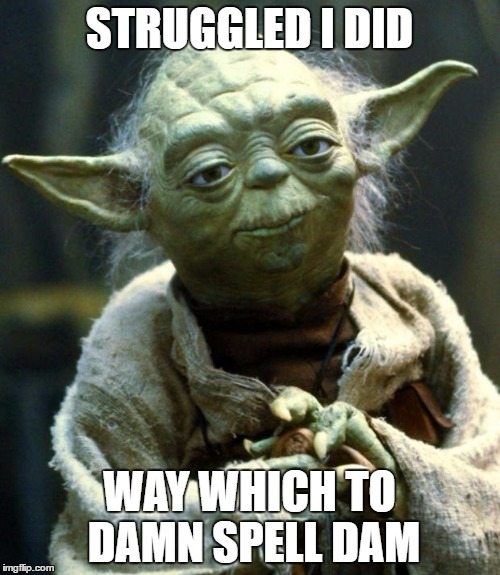 Star Wars Yoda Meme | STRUGGLED I DID WAY WHICH TO DAMN SPELL DAM | image tagged in memes,star wars yoda | made w/ Imgflip meme maker