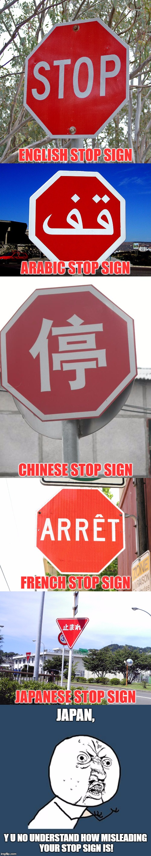 We Talked About UniversalsIn Cultural Anthropology And Our Professor Gave Us An Example Like This One, Decided To Meme It! | Y U NO UNDERSTAND HOW MISLEADING YOUR STOP SIGN IS! JAPAN, JAPANESE STOP SIGN FRENCH STOP SIGN CHINESE STOP SIGN ARABIC STOP SIGN ENGLISH ST | image tagged in memes,stop sign,cultural anthropology,funny,professor,universals | made w/ Imgflip meme maker