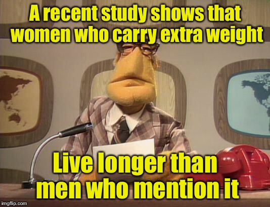 muppet news | A recent study shows that women who carry extra weight Live longer than men who mention it | image tagged in muppet news | made w/ Imgflip meme maker