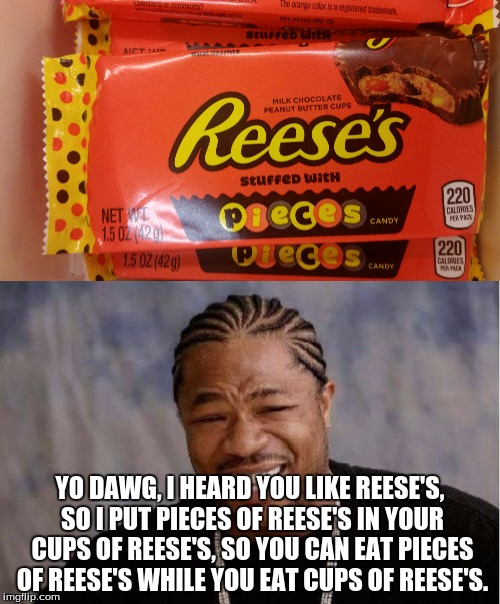 Have some Reese's, dawg. | YO DAWG, I HEARD YOU LIKE REESE'S, SO I PUT PIECES OF REESE'S IN YOUR CUPS OF REESE'S, SO YOU CAN EAT PIECES OF REESE'S WHILE YOU EAT CUPS O | image tagged in funny,memes,yo dawg,reese's,inception,true story | made w/ Imgflip meme maker