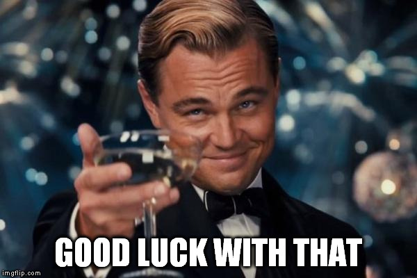 Leonardo Dicaprio Cheers Meme | GOOD LUCK WITH THAT | image tagged in memes,leonardo dicaprio cheers | made w/ Imgflip meme maker