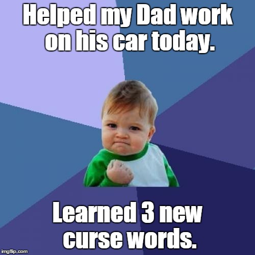Success Kid Meme | Helped my Dad work on his car today. Learned 3 new curse words. | image tagged in memes,success kid | made w/ Imgflip meme maker