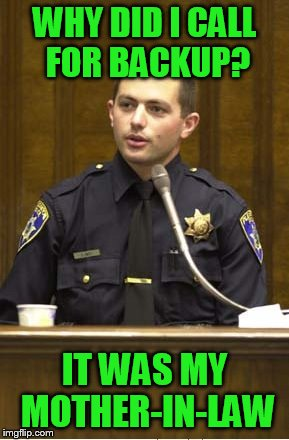 You're under oath, don't lie now | WHY DID I CALL FOR BACKUP? IT WAS MY MOTHER-IN-LAW | image tagged in memes,police officer testifying | made w/ Imgflip meme maker