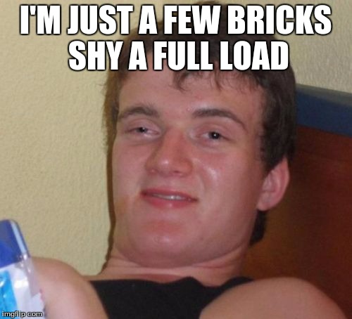 10 Guy Meme | I'M JUST A FEW BRICKS SHY A FULL LOAD | image tagged in memes,10 guy | made w/ Imgflip meme maker