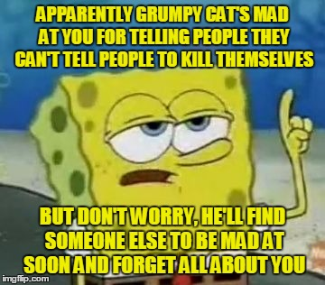 APPARENTLY GRUMPY CAT'S MAD AT YOU FOR TELLING PEOPLE THEY CAN'T TELL PEOPLE TO KILL THEMSELVES BUT DON'T WORRY, HE'LL FIND SOMEONE ELSE TO  | made w/ Imgflip meme maker
