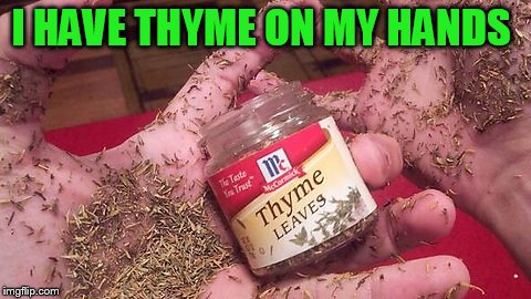 I HAVE THYME ON MY HANDS | made w/ Imgflip meme maker