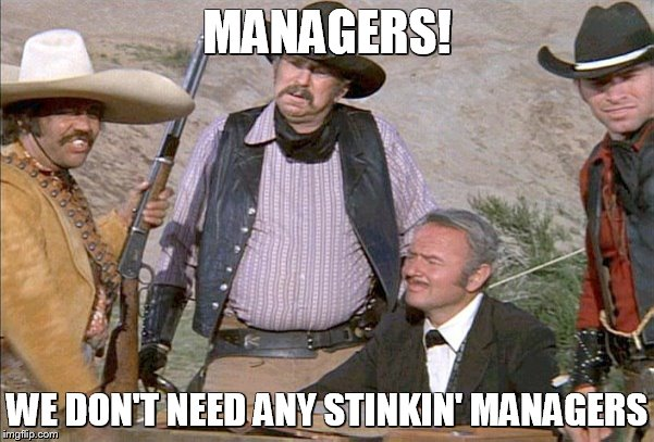 Managers badges | MANAGERS! WE DON'T NEED ANY STINKIN' MANAGERS | image tagged in badges | made w/ Imgflip meme maker