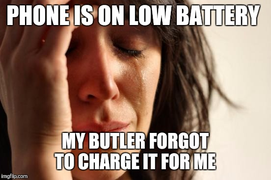First World Problems Meme | PHONE IS ON LOW BATTERY MY BUTLER FORGOT TO CHARGE IT FOR ME | image tagged in memes,first world problems | made w/ Imgflip meme maker