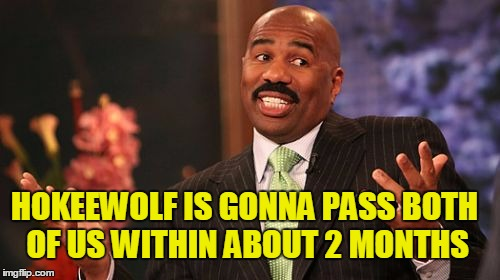Steve Harvey Meme | HOKEEWOLF IS GONNA PASS BOTH OF US WITHIN ABOUT 2 MONTHS | image tagged in memes,steve harvey | made w/ Imgflip meme maker