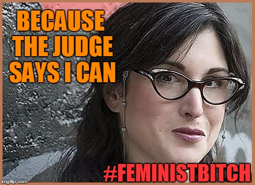 feminist Zeisler | BECAUSE THE JUDGE SAYS I CAN #FEMINISTB**CH | image tagged in feminist zeisler | made w/ Imgflip meme maker