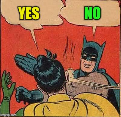 Batman Slapping Robin Meme | YES NO | image tagged in memes,batman slapping robin | made w/ Imgflip meme maker