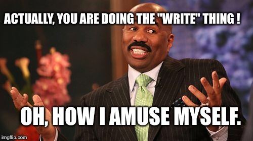 "Steve Harvey Meme | ACTUALLY, YOU ARE DOING THE ""WRITE"" THING ! OH, HOW I AMUSE MYSELF. 
