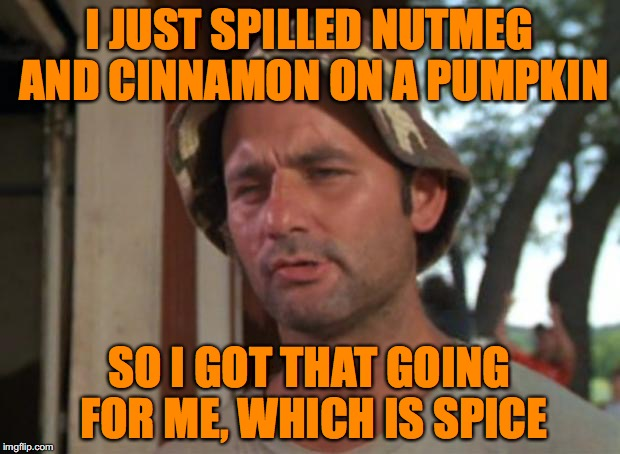 Nothing says summer is over like putting spicy pumpkin flavor in everything you eat or drink. |  I JUST SPILLED NUTMEG AND CINNAMON ON A PUMPKIN; SO I GOT THAT GOING FOR ME, WHICH IS SPICE | image tagged in memes,so i got that goin for me which is nice,pumpkin spice,summer,fall,bill murray | made w/ Imgflip meme maker