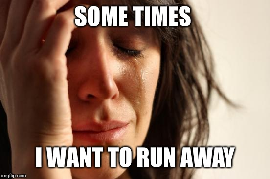 First World Problems Meme | SOME TIMES I WANT TO RUN AWAY | image tagged in memes,first world problems | made w/ Imgflip meme maker