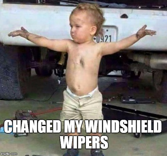 mechanic kid | CHANGED MY WINDSHIELD WIPERS | image tagged in mechanic kid | made w/ Imgflip meme maker
