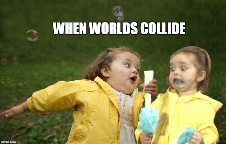 WHEN WORLDS COLLIDE | image tagged in chubby bubbles,cotton candy,funny | made w/ Imgflip meme maker