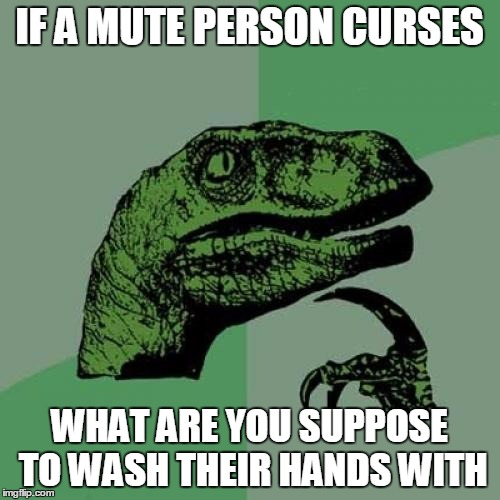 Philosoraptor Meme | IF A MUTE PERSON CURSES WHAT ARE YOU SUPPOSE TO WASH THEIR HANDS WITH | image tagged in memes,philosoraptor | made w/ Imgflip meme maker