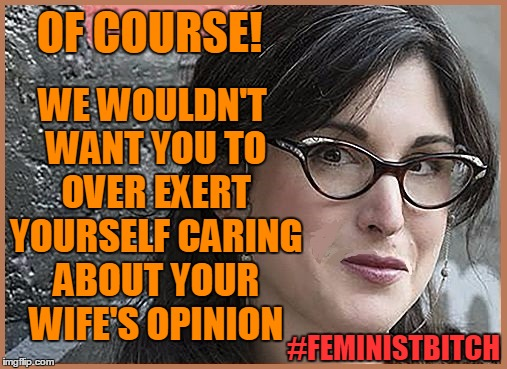 feminist Zeisler | OF COURSE! WE WOULDN'T WANT YOU TO OVER EXERT YOURSELF CARING ABOUT YOUR WIFE'S OPINION #FEMINISTB**CH | image tagged in feminist zeisler | made w/ Imgflip meme maker