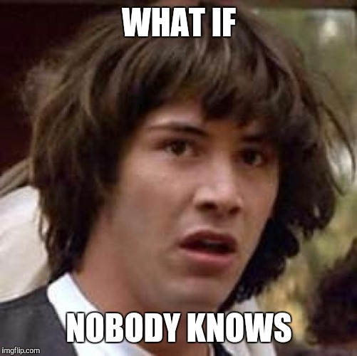 Conspiracy Keanu Meme | WHAT IF NOBODY KNOWS | image tagged in memes,conspiracy keanu | made w/ Imgflip meme maker