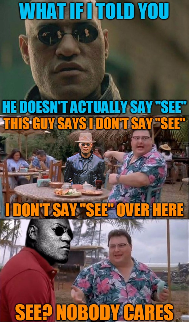 "Nobody Cares About Misquotes... | WHAT IF I TOLD YOU HE DOESN'T ACTUALLY SAY ""SEE"" THIS GUY SAYS I DON'T SAY ""SEE"" I DON'T SAY ""SEE"" OVER HERE SEE? NOBODY CARES 