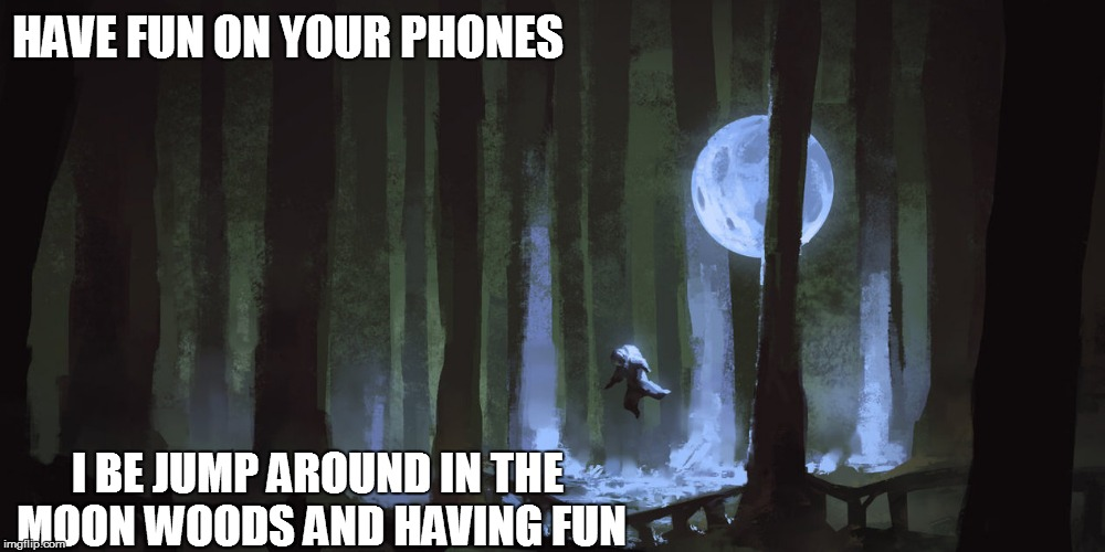 HAVE FUN ON YOUR PHONES I BE JUMP AROUND IN THE MOON WOODS AND HAVING FUN | made w/ Imgflip meme maker