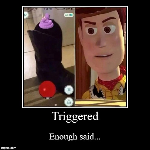 Woody, You Okay... | Triggered | Enough said... | image tagged in funny,demotivationals,woody,pokemon,pokemon go,triggered | made w/ Imgflip demotivational maker