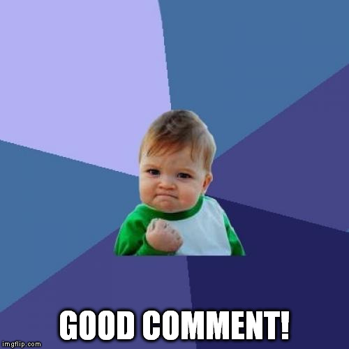 Success Kid Meme | GOOD COMMENT! | image tagged in memes,success kid | made w/ Imgflip meme maker