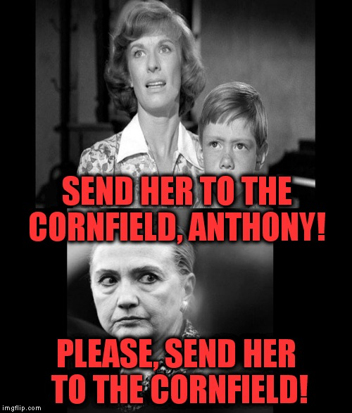 Thanks to MyMemesAreTerrible for the idea! | SEND HER TO THE CORNFIELD, ANTHONY! PLEASE, SEND HER TO THE CORNFIELD! | image tagged in hillary,the twilight zone,the cornfield | made w/ Imgflip meme maker
