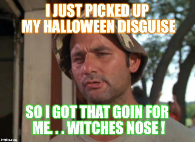 So I Got That Goin For Me Which Is Nice | I JUST PICKED UP MY HALLOWEEN DISGUISE SO I GOT THAT GOIN FOR ME. . . WITCHES NOSE ! | image tagged in memes,so i got that goin for me which is nice,halloween | made w/ Imgflip meme maker