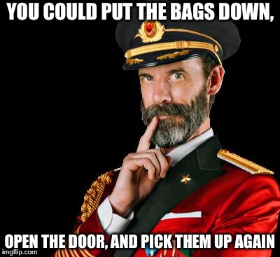 YOU COULD PUT THE BAGS DOWN, OPEN THE DOOR, AND PICK THEM UP AGAIN | made w/ Imgflip meme maker