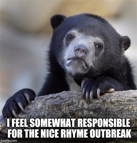 I FEEL SOMEWHAT RESPONSIBLE FOR THE NICE RHYME OUTBREAK | image tagged in memes,confession bear | made w/ Imgflip meme maker