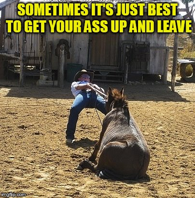 SOMETIMES IT'S JUST BEST TO GET YOUR ASS UP AND LEAVE | made w/ Imgflip meme maker