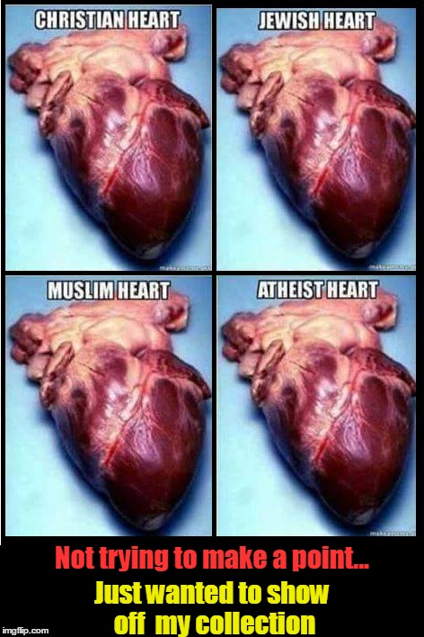 You Gotta Have Heart | Not trying to make a point... Just wanted to show off  my collection | image tagged in human hearts,vince vance,christian heart,jewish heart,muslim heart,atheist heart | made w/ Imgflip meme maker