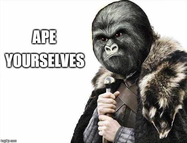 APE YOURSELVES | image tagged in brace yourselves,harambe,planet of the apes,brace yourselves x is coming | made w/ Imgflip meme maker
