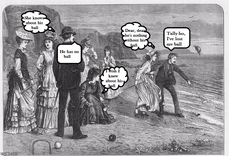 Croquet At The Beach |  ... | image tagged in meme,victoriana,victorian era,downton abbey,sportsmanship,etching | made w/ Imgflip meme maker