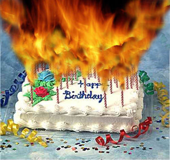 flaming birthday cake Blank Template - Imgflip