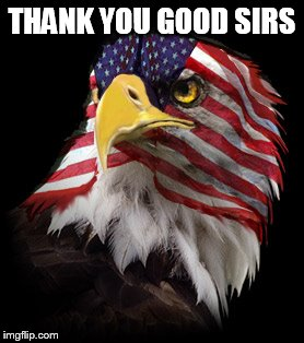 Flag Faced American Eagle | THANK YOU GOOD SIRS | image tagged in flag faced american eagle | made w/ Imgflip meme maker