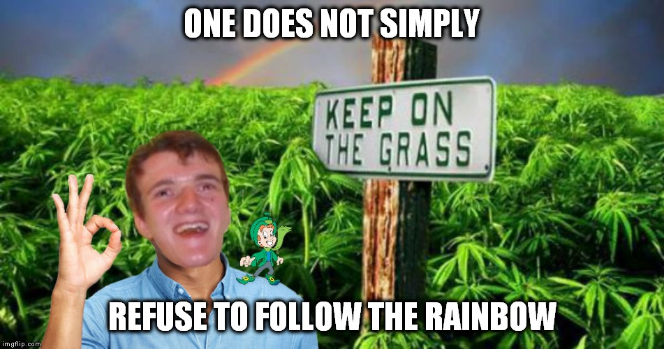 Props to Raydog for making me think of this while commenting :) | ONE DOES NOT SIMPLY REFUSE TO FOLLOW THE RAINBOW | image tagged in one does not simply,10 guy,lucky charms,rainbow,weed,grass | made w/ Imgflip meme maker