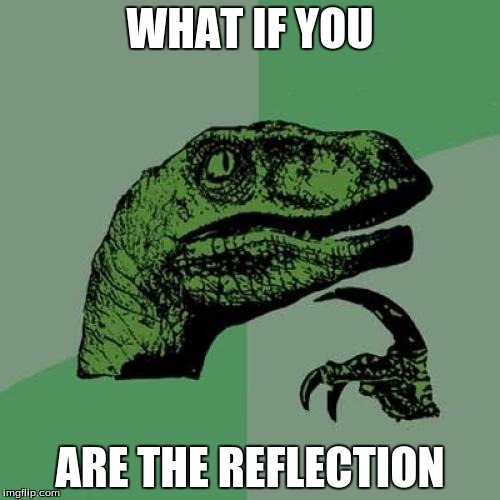 seriously. | WHAT IF YOU ARE THE REFLECTION | image tagged in memes,philosoraptor,reflection,yeah,pokemon go,wat | made w/ Imgflip meme maker