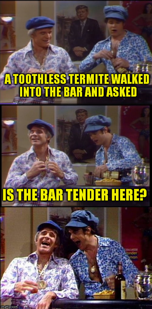 Two Wild And Crazy Guys! | A TOOTHLESS TERMITE WALKED INTO THE BAR AND ASKED IS THE BAR TENDER HERE? | image tagged in two wild and crazy guys,bar,funny meme,laughs,jokes,snl | made w/ Imgflip meme maker