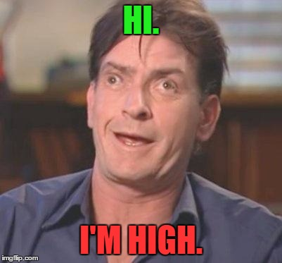 High Charlie Sheen DERP |  HI. I'M HIGH. | image tagged in charlie sheen derp,i'm high,high,hi,charlie sheen,derp | made w/ Imgflip meme maker