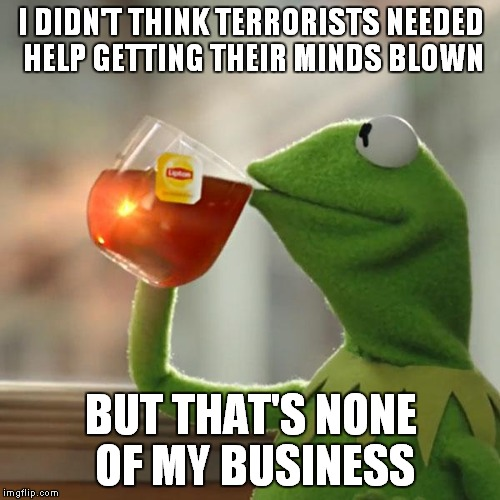 But Thats None Of My Business Meme | I DIDN'T THINK TERRORISTS NEEDED HELP GETTING THEIR MINDS BLOWN BUT THAT'S NONE OF MY BUSINESS | image tagged in memes,but thats none of my business,kermit the frog | made w/ Imgflip meme maker