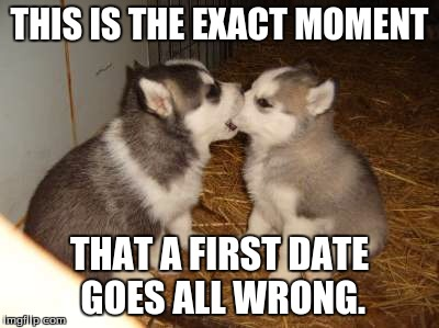 First kiss  |  THIS IS THE EXACT MOMENT; THAT A FIRST DATE GOES ALL WRONG. | image tagged in memes,cute puppies,first kiss,husky,smooth | made w/ Imgflip meme maker
