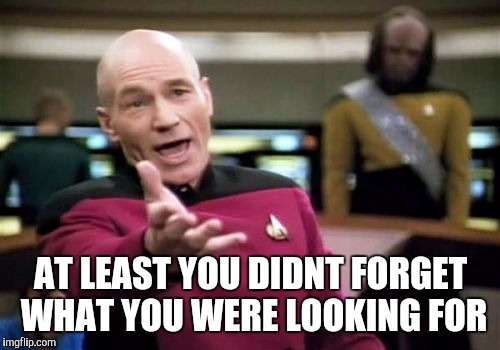 AT LEAST YOU DIDNT FORGET WHAT YOU WERE LOOKING FOR | image tagged in memes,picard wtf | made w/ Imgflip meme maker