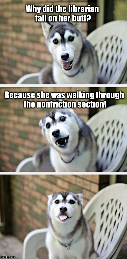 Let me just slip this one in front of you... | Why did the librarian fall on her butt? Because she was walking through the nonfriction section! | image tagged in bad pun dog 2,library,nonfiction,puns,butt,librarian | made w/ Imgflip meme maker