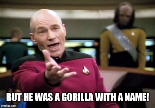 Picard Wtf Meme | BUT HE WAS A GORILLA WITH A NAME! | image tagged in memes,picard wtf | made w/ Imgflip meme maker