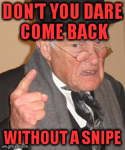 Back In My Day Meme | DON'T YOU DARE COME BACK WITHOUT A SNIPE | image tagged in memes,back in my day | made w/ Imgflip meme maker