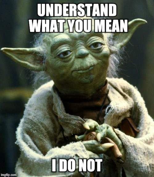Star Wars Yoda Meme | UNDERSTAND WHAT YOU MEAN I DO NOT | image tagged in memes,star wars yoda | made w/ Imgflip meme maker