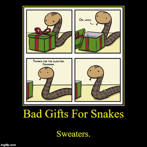 I Find Snakes To Be Awesome Creatures, I Don't Know Why People Have A Hard Time Understanding That | Bad Gifts For Snakes | Sweaters. | image tagged in funny,demotivationals,snakes,sweater,presents,gifts | made w/ Imgflip demotivational maker